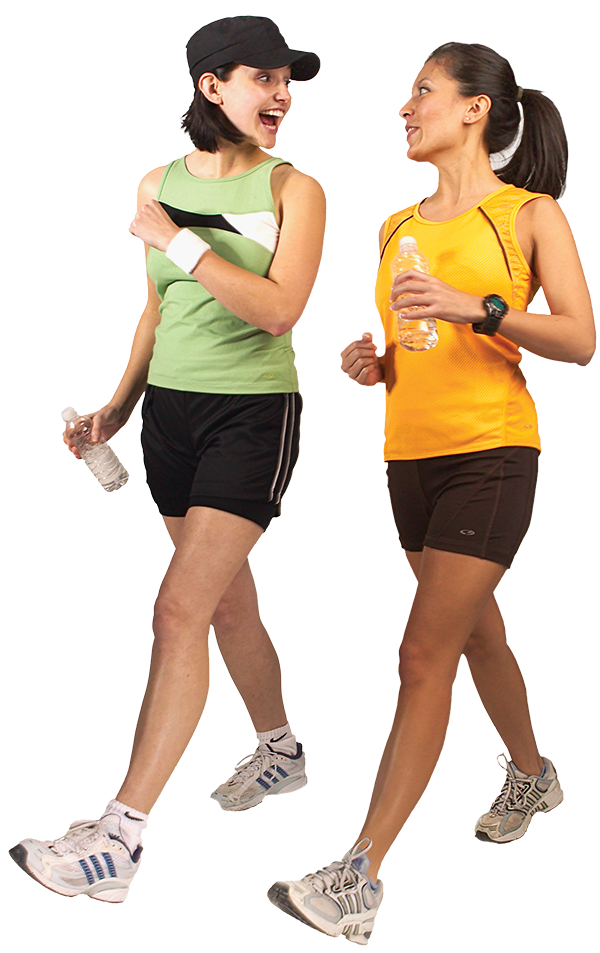 two women in running gear working out