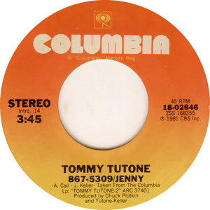 Record label for 867-5309 by Tommy Tutone