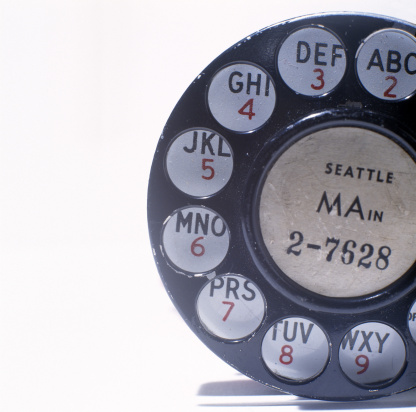 Old rotary telephone with Seattle letter prefix, MA2-7628