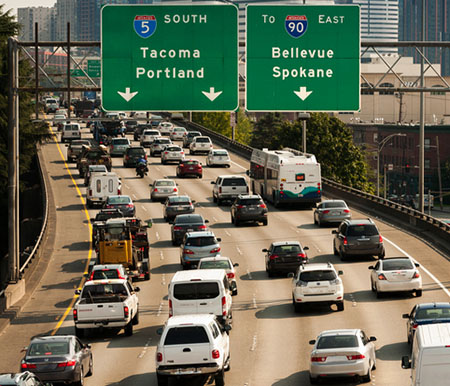 traffic jam on I-5 through downtown Seattle