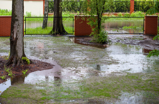 Heavy rain floods a residential yard