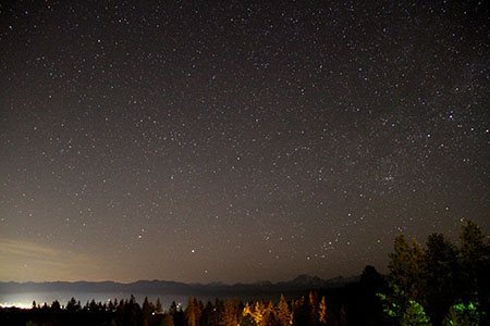 Stars shine over the Cascades as seen from near Cle Elum, WA