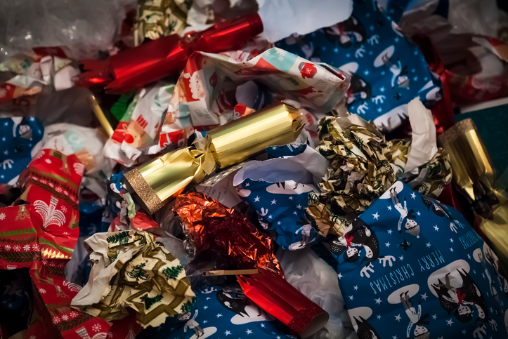 Recycle, don't burn, used wrapping paper